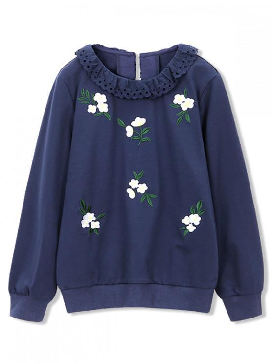 outfits Girls Swiss Embroidery Flower Sweatshirt - DEEP BLUE 140