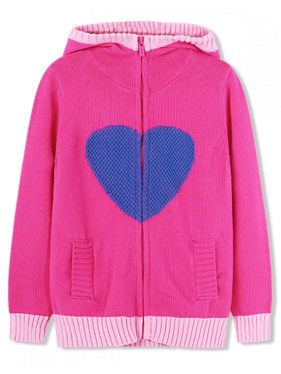 trendy Girls Heart Graphic Zip Up Hooded Cardigan - HOT PINK 130