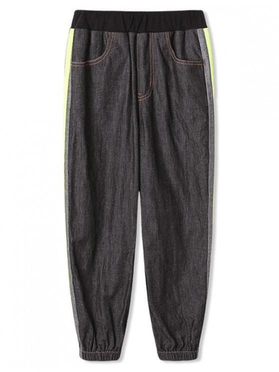 women Boys Side Striped Jogger Denim Pants - CARBON GRAY 140