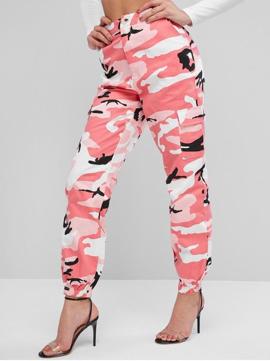 womens ZAFUL Camouflage Pocket Zipper Fly Jogger Pants - MULTI-A XL