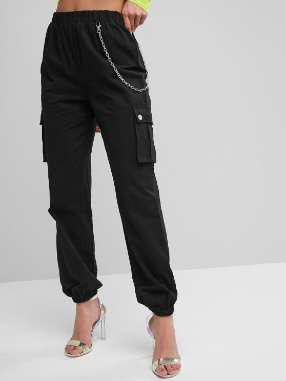 shop Chain Flap Pockets Solid Jogger Pants - BLACK S