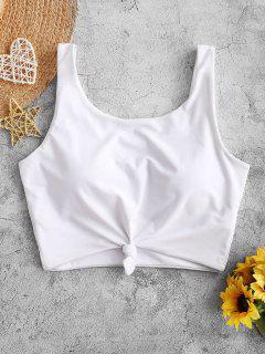 ZAFUL Knotted Padded Plain Swim Top - White L