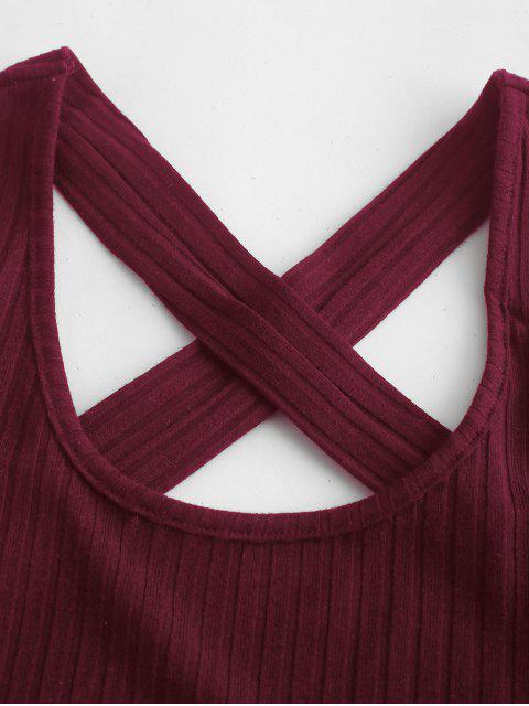 ZAFUL Criss Cross Tied Solid camiseta sin mangas - Vino Tinto S Mobile