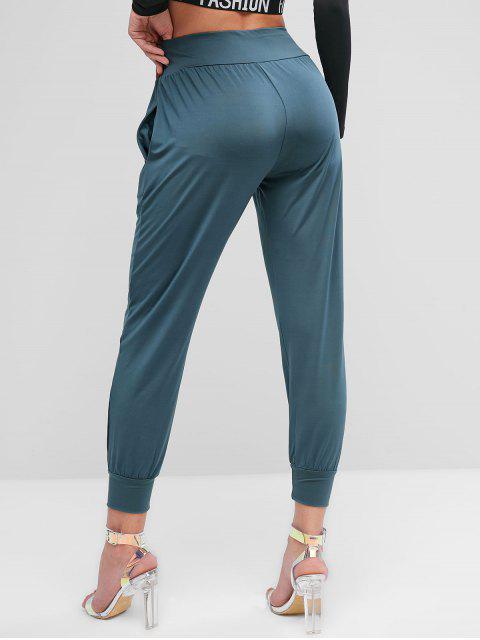 Polainas de malla transparente Bolsillos elásticos en la cintura - Gris Azulado S Mobile
