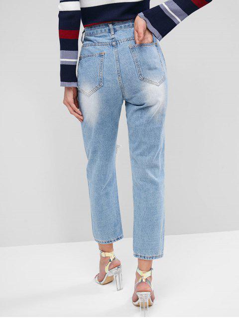 trendy Distressed Light Wash Boyfriend Jeans - JEANS BLUE L Mobile