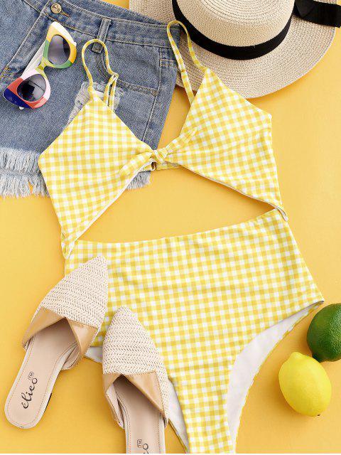 Traje de baño de una pieza a cuadros con recorte de nudo ZAFUL - Amarillo de Maíz S Mobile