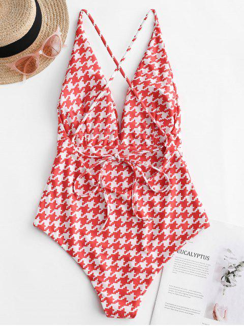 ladies ZAFUL Houndstooth Criss Cross Plunge One-piece Swimsuit - MULTI-A S Mobile