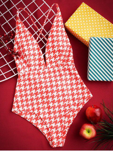 Traje de baño de una pieza ZAFUL Houndstooth Criss Cross Plunge - Multicolor-A L Mobile