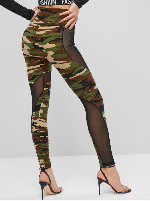 latest High Waisted Mesh Panel Camouflage Leggings - CAMOUFLAGE GREEN ONE SIZE Mobile