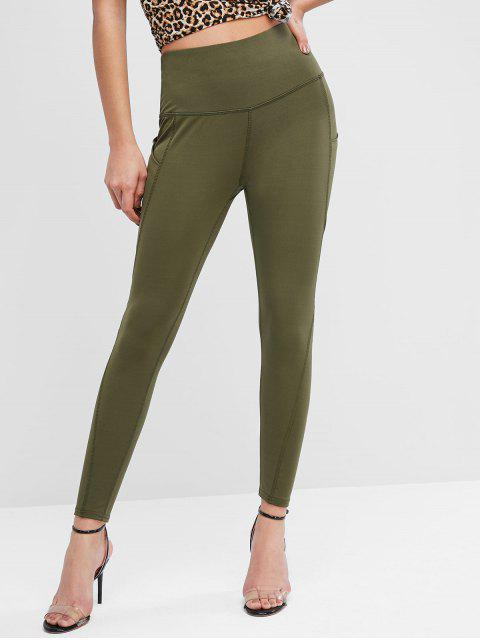 online Topstitching Side Pocket Workout Leggings - CAMOUFLAGE GREEN S Mobile
