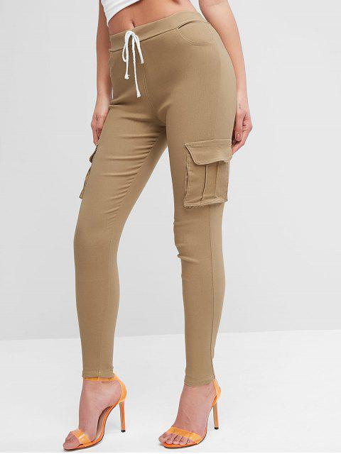 Pantalones ajustados con bolsillos con solapa con cordón - Camel Marrón M Mobile