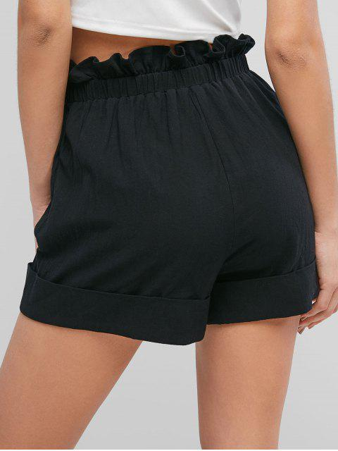 ladies ZAFUL Frilled High Waisted Cuffed Shorts - BLACK M Mobile