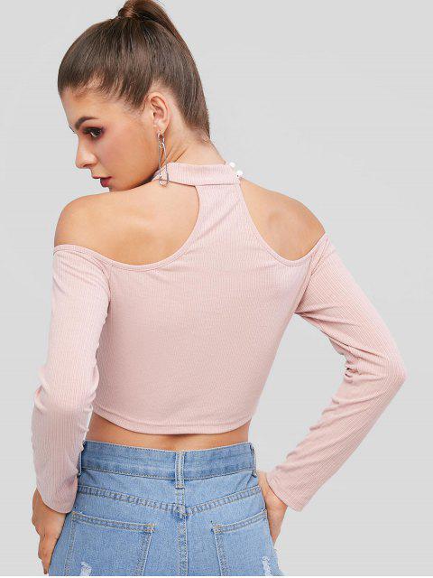 outfits ZAFUL Cutout Ribbed Choker Top - PINK ROSE XL Mobile