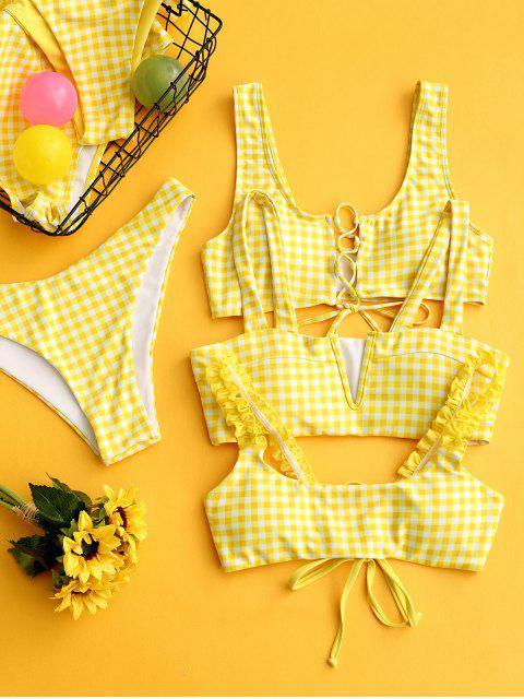 ZAFUL Maillot de Bain Bikini à Carreaux Taille Haute à Lacets - Jaune de Maïs  S Mobile