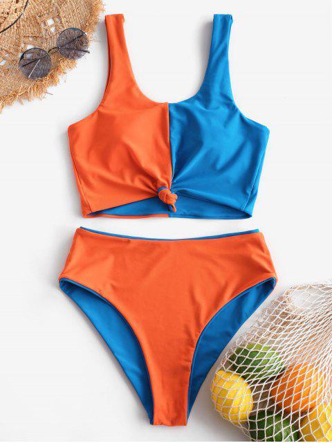 Traje de baño Tankini reversible con nudo de bloque de color ZAFUL - Azul Océano  S Mobile