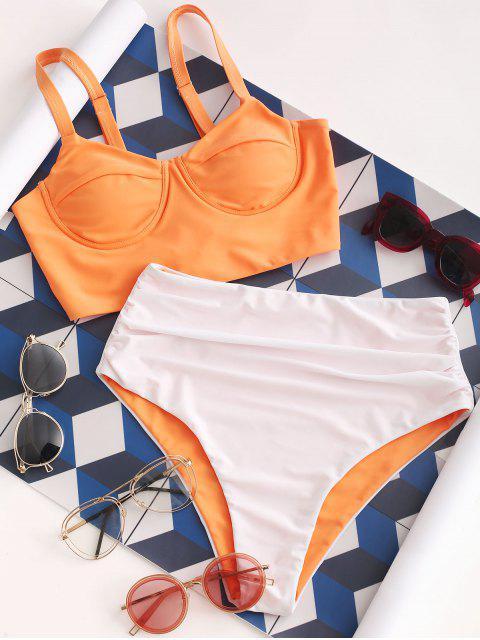 ZAFUL Maillot de Bain Tankini Bicolore à Taille Haute à Lacets - Brun Sable XL Mobile
