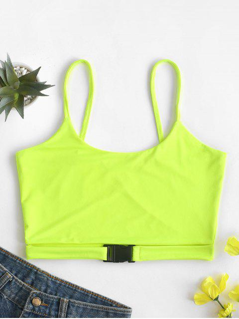 ladies Neon Buckled Cami Top - GREEN YELLOW S Mobile