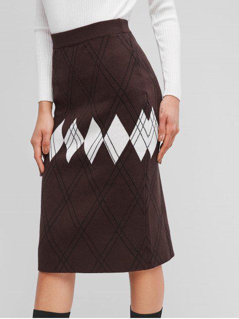 針織幾何中長裙 - 咖啡 One Size Mobile