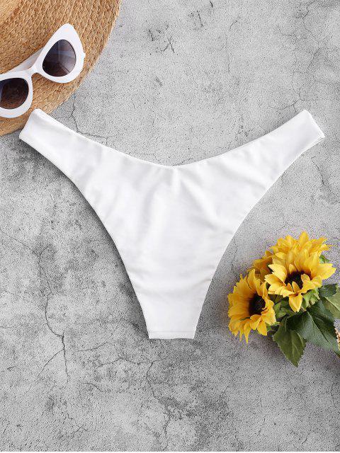women ZAFUL High Leg Plain Bikini Bottom - WHITE S Mobile