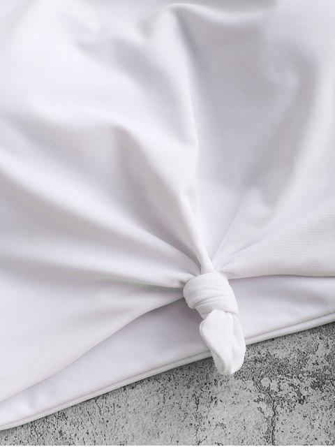 ZAFUL  Verknoteter Gepolstertes Schlichtes Schwimmoberteil - Weiß XL Mobile