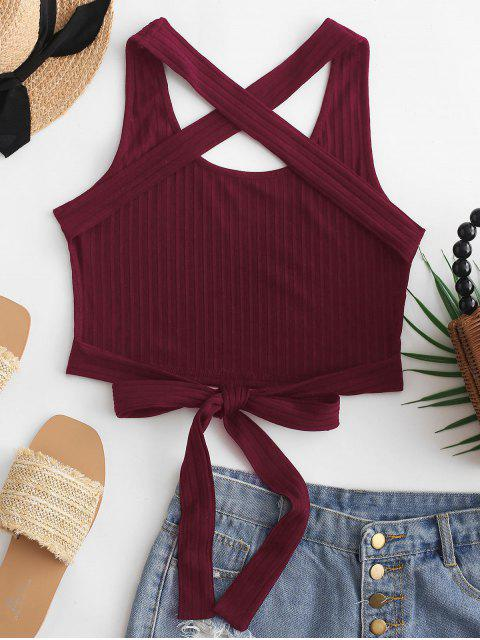 outfits ZAFUL Criss Cross Tied Solid Tank Top - RED WINE L Mobile