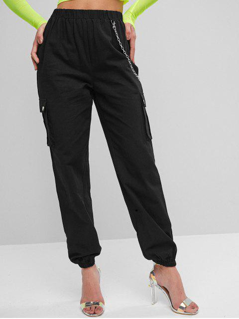 Pantalones de chándal con solapa y bolsillos con solapa de cadena - Negro S Mobile