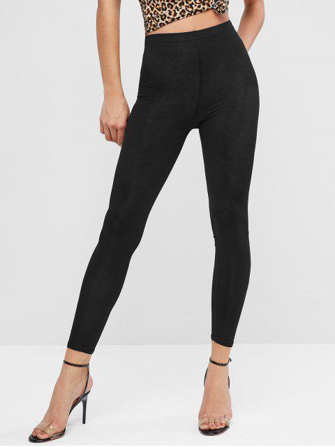buy High Waist Solid Skinny Leggings - BLACK ONE SIZE Mobile