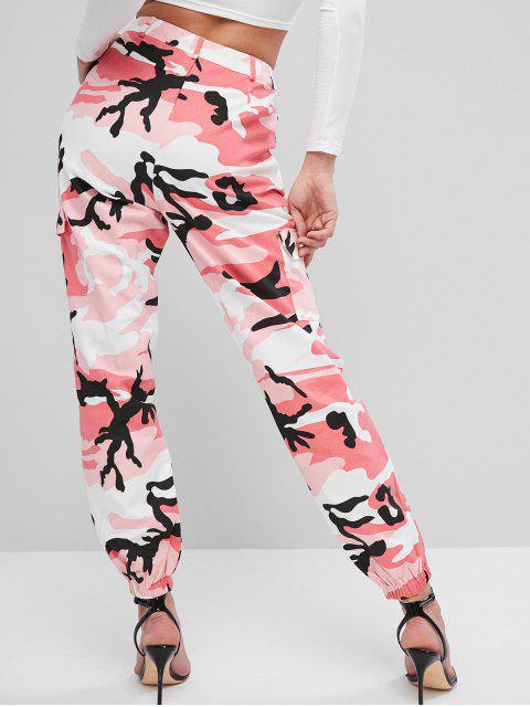 ZAFUL Camouflage Pocket Zipper Fly Jogger Pantalones - Multicolor-A S Mobile