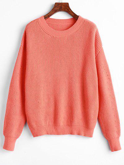 ZAFUL Drop Shoulder Loose Jumper Sweater - Pumpkin Orange L