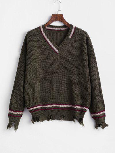 Striped Ripped Sharkbite Trim Drop Shoulder Sweater - Hazel Green
