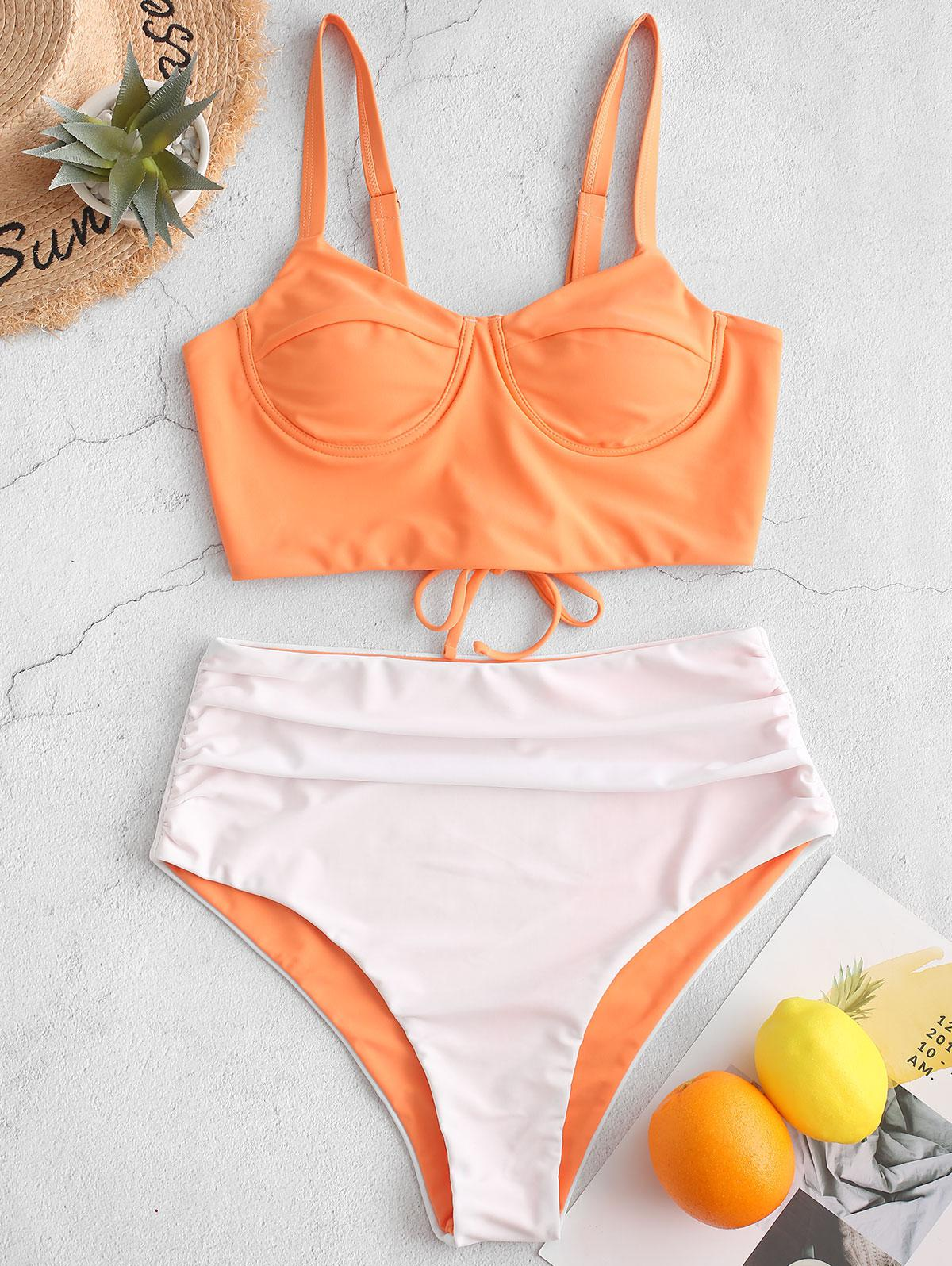 ZAFUL Two Tone Lace Up Push Up High Waisted Tankini Swimsuit, Sandy brown