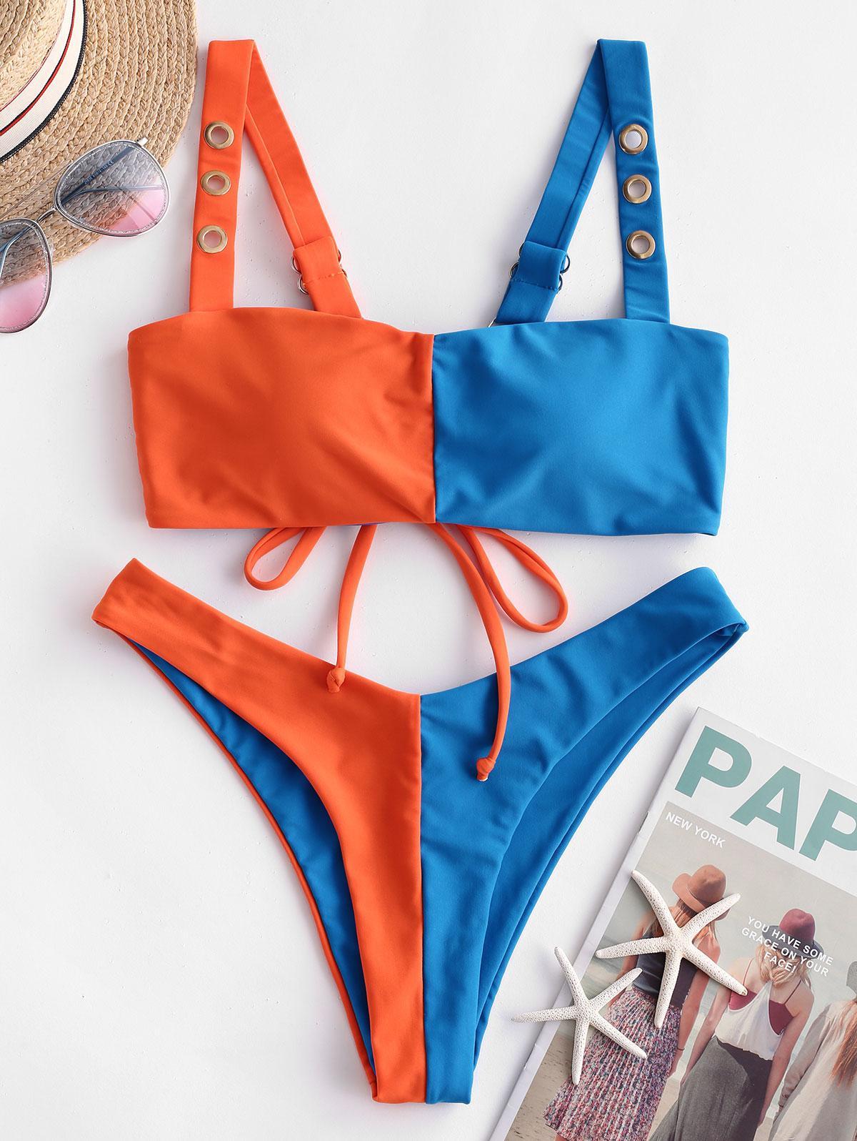 ZAFUL Color Block Grommets High Leg Bikini Swimsuit, Ocean blue