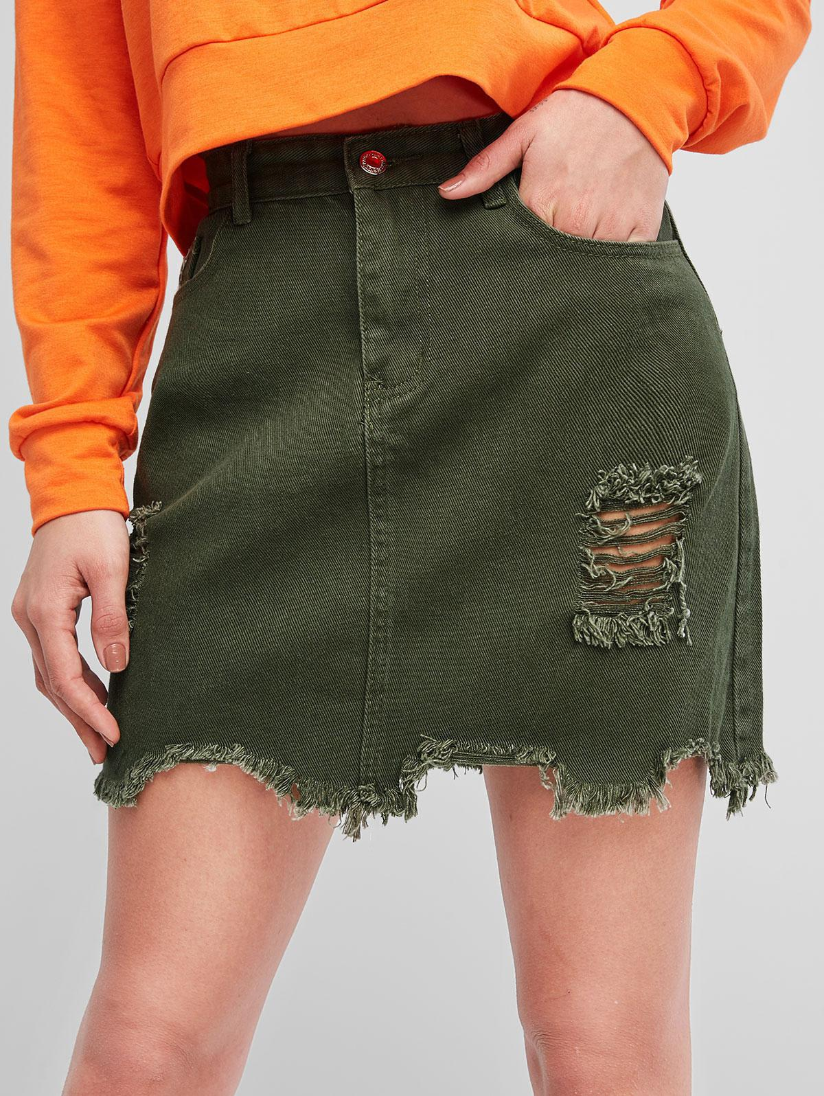 Distressed A Line Denim Skirt, Army green