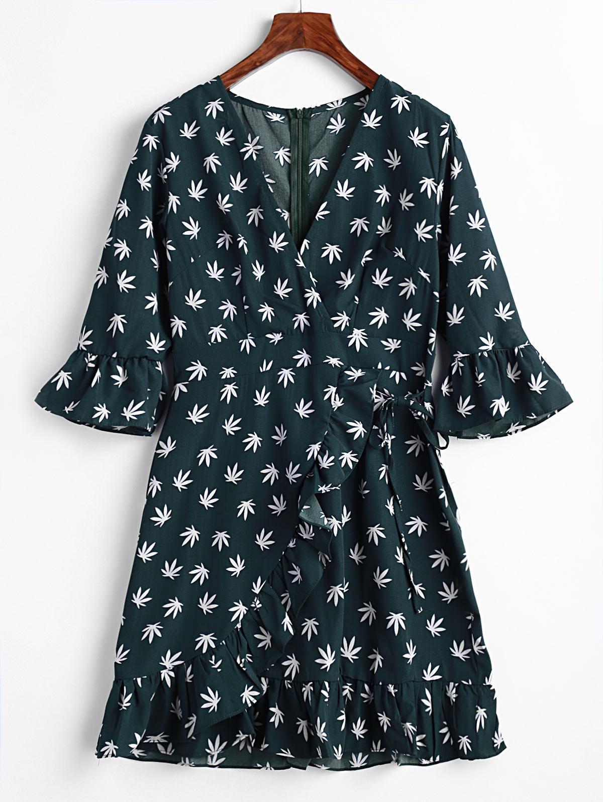 Leaves Print Ruffles Surplice Mini Dress, Grayish turquoise
