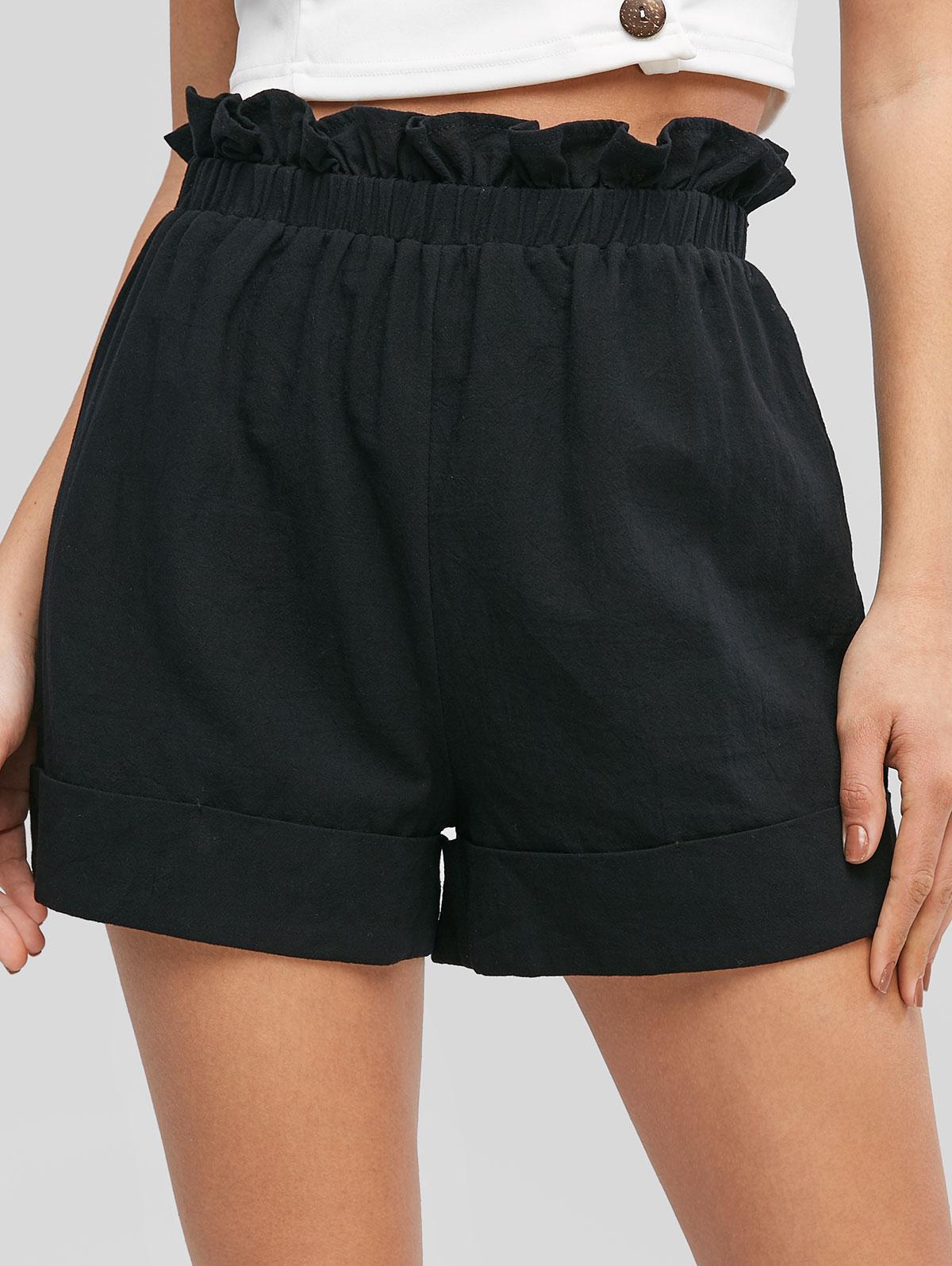 ZAFUL Frilled High Waisted Cuffed Shorts, Black