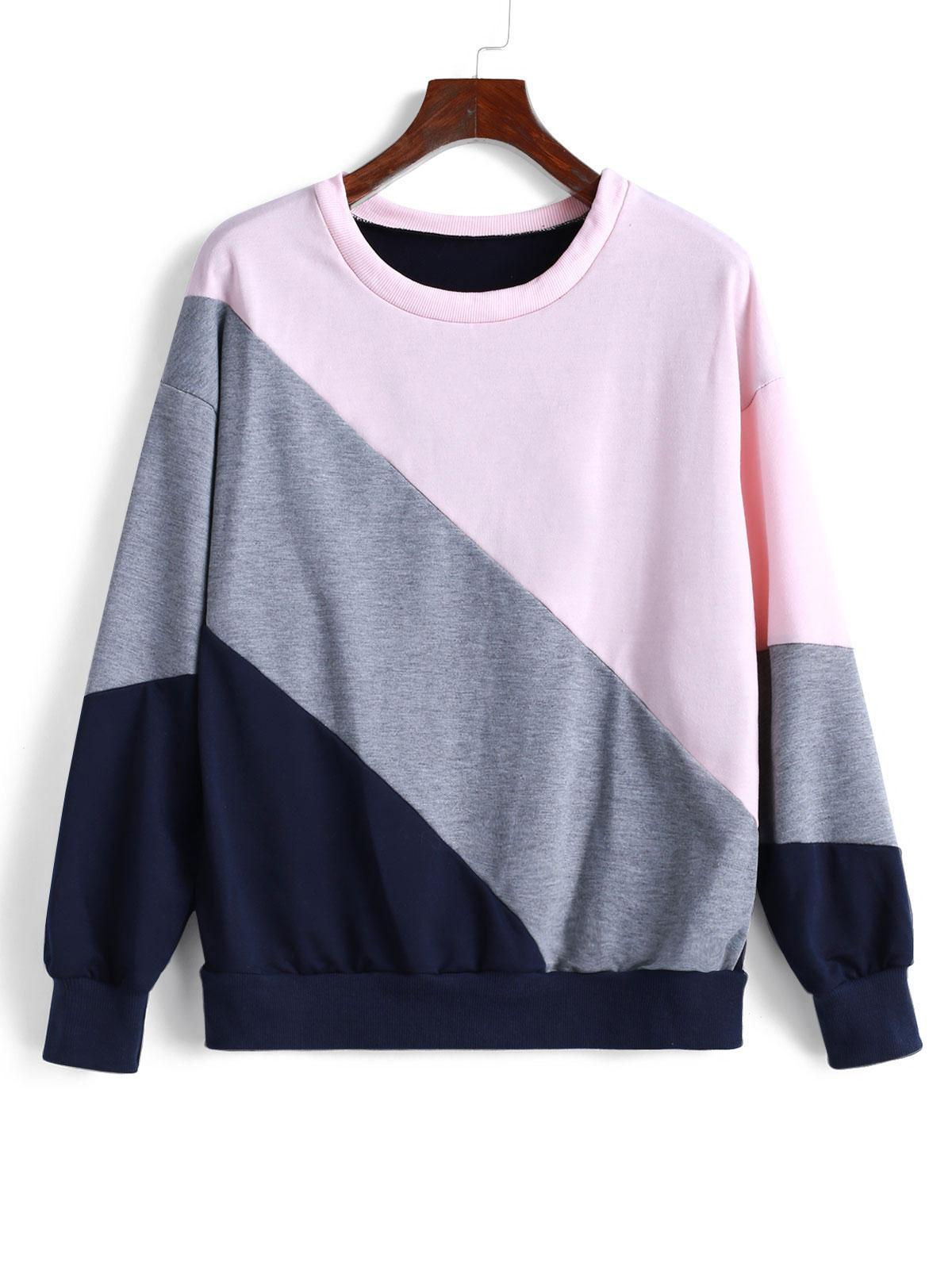 Color Block Drop Shoulder Pullover Sweatshirt
