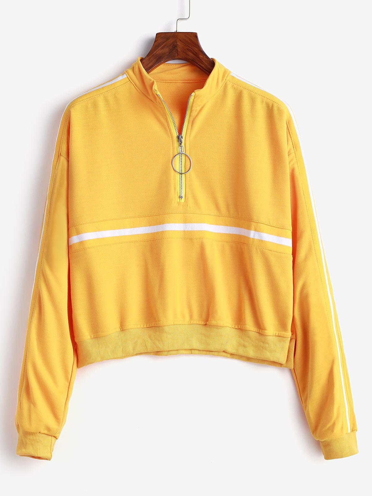 Pull Ring Zip Tape Drop Shoulder Sweatshirt фото