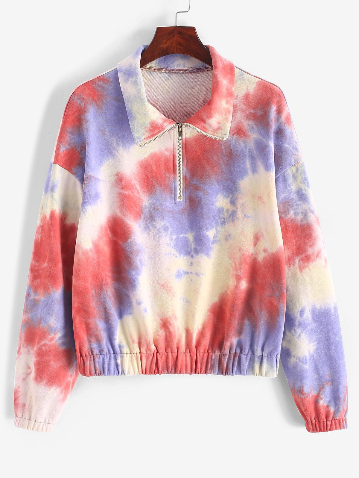 ZAFUL Drop Shoulder Half Zip Tie Dye Sweatshirt фото