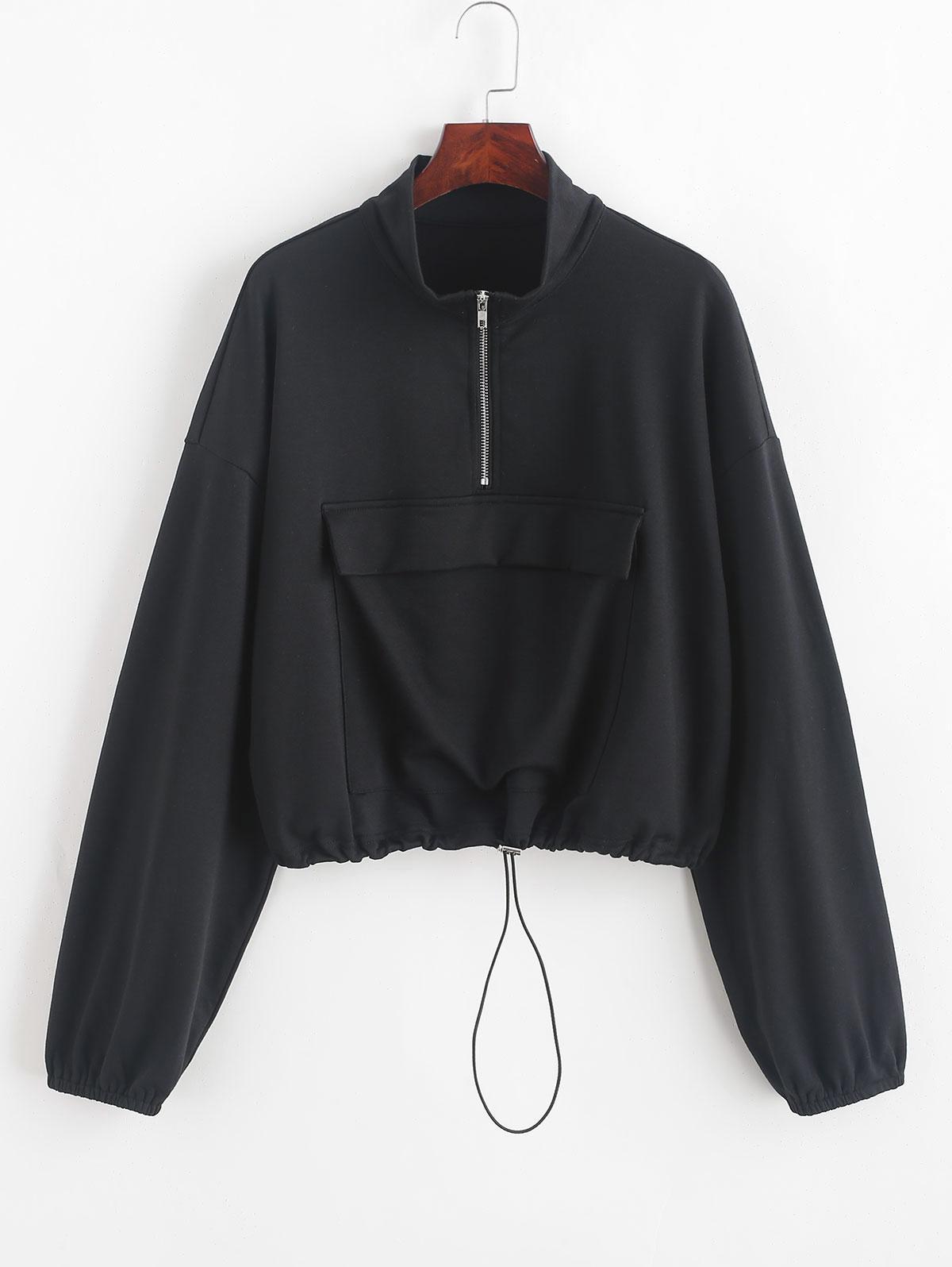 ZAFUL Half Zip Front Pocket Drawstring Sweatshirt, Black