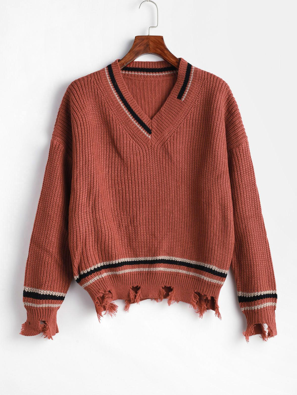 Striped Ripped Sharkbite Trim Drop Shoulder Sweater