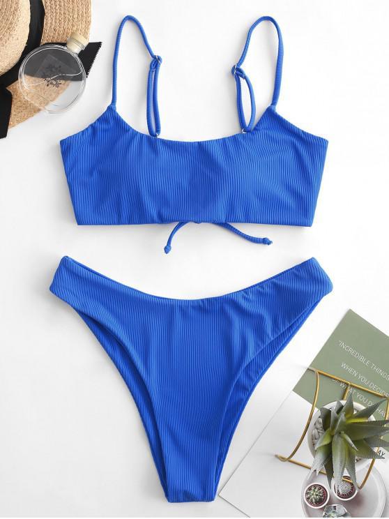 chic ZAFUL Lace-up Ribbed High Leg Bikini Swimsuit - OCEAN BLUE L