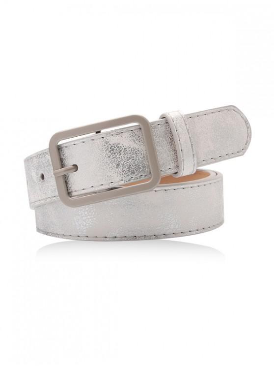 trendy Glitter Square Buckle Decorative Belt - SILVER