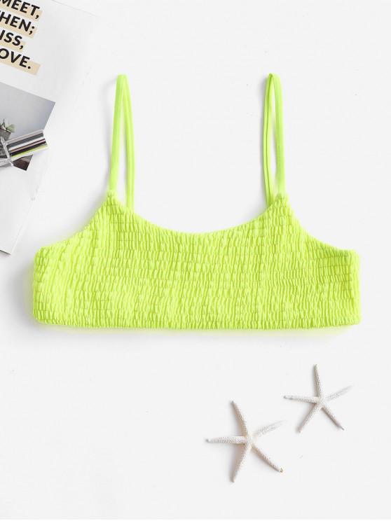 women ZAFUL Smocked Bralette Bikini Top - GREEN YELLOW M