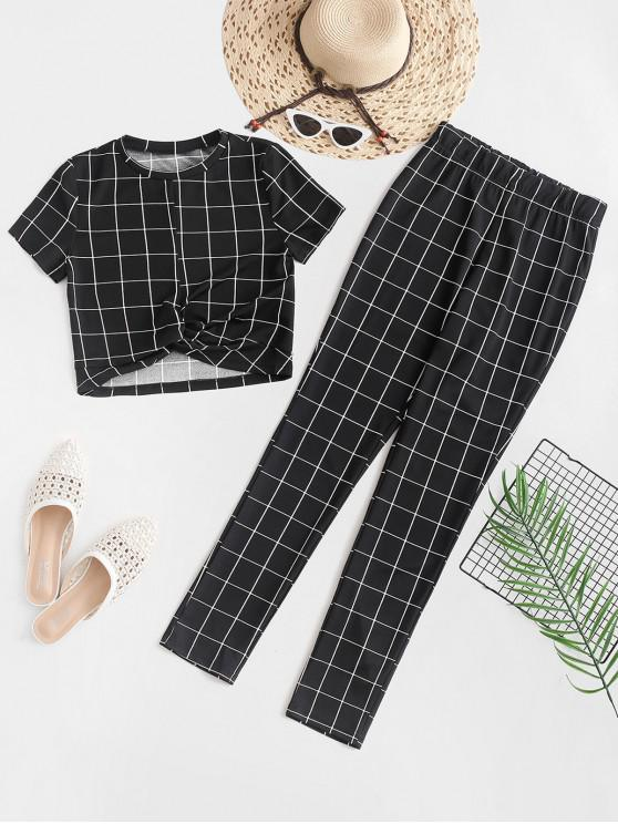 best ZAFUL Cropped Checked Twist Two Piece Set - BLACK S