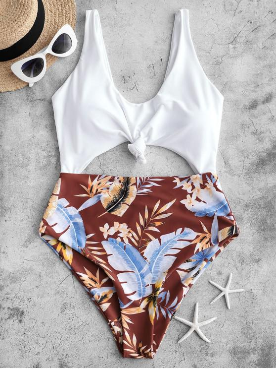 shops ZAFUL High Cut Contrast Knotted Leaf Swimsuit - RED WINE XL