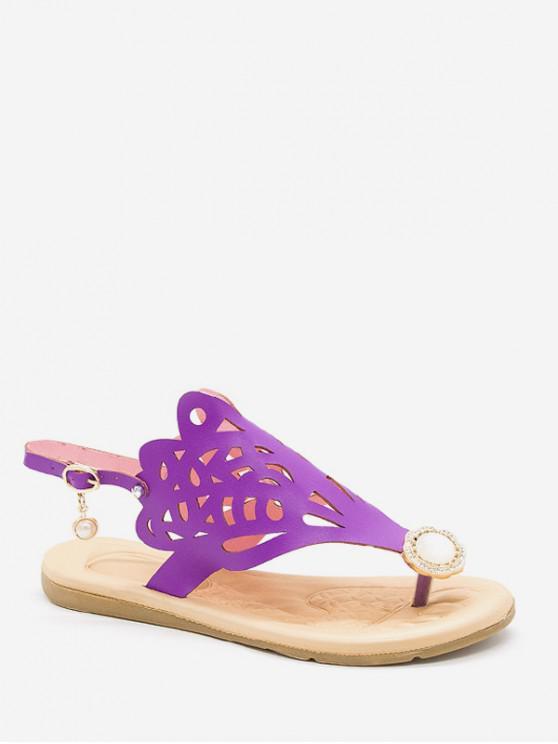 ladies Hollow Out Faux Pearl Floral Thong Sandals - PURPLE EU 38