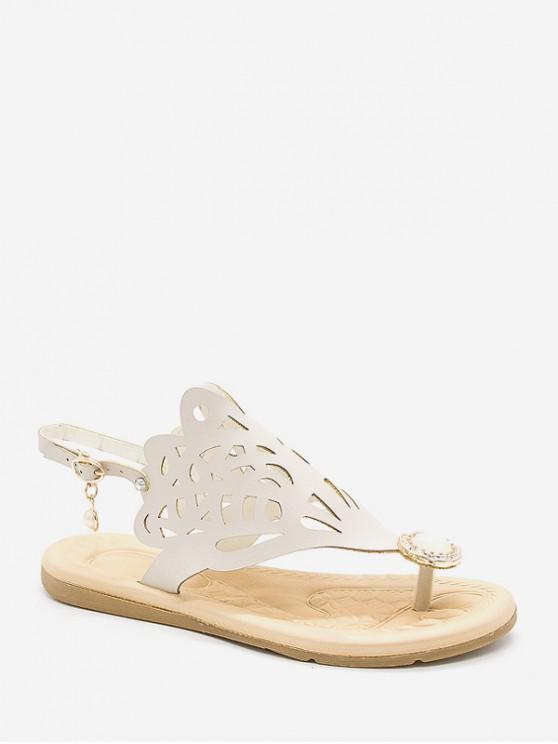 women Hollow Out Faux Pearl Floral Thong Sandals - WHITE EU 39