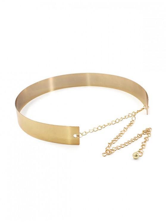 hot Versatile Wide Metal Dress Waist Chain - GOLDENROD