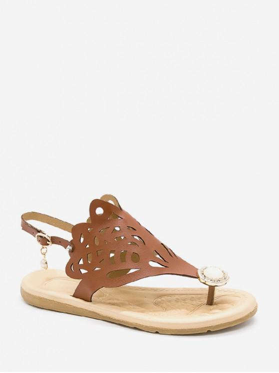 lady Hollow Out Faux Pearl Floral Thong Sandals - BROWN EU 37