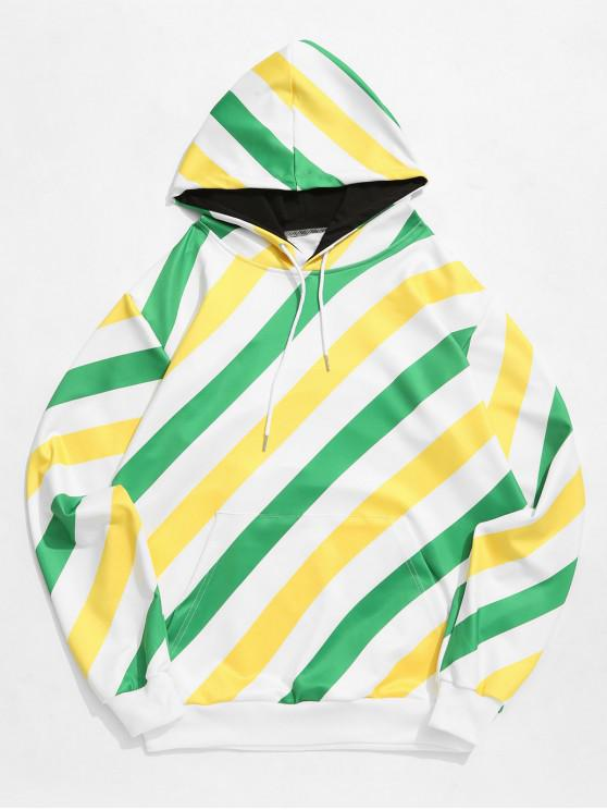 new Color Block Striped Print Kangaroo Pocket Drawstring Hoodie - MULTI M